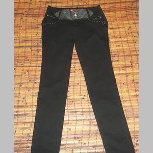 Ladies sz lg Black / silver stretch blend jeans